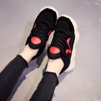 百搭加绒休闲鞋原宿风韩版运动鞋保暖学生女鞋厚底棉鞋新款冬季潮 黑色 891-8K