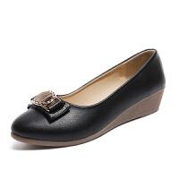 2018春夏季坡跟舒适滑中年妈妈 鞋子四季 鞋子浅口工作 鞋子平底女 鞋子