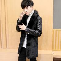 时尚保暖加厚冬季男士皮衣加绒加厚韩版修身中长款皮风衣大毛领皮草外套仿貂毛