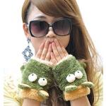 新款韩版卡通半指手套女厚保暖可爱毛绒手套