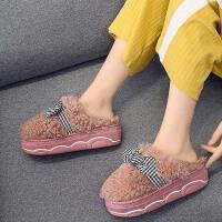 毛绒棉拖鞋女冬季包跟可爱室内家用防水保暖防滑坡跟增高新款