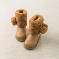 【加绒】davebella戴维贝拉冬季新款女童休闲加厚中筒棉靴DB11600
