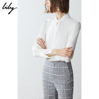 Lily春新款女装商务通勤白色宽松插肩袖套头衫119110C8241