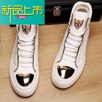 新品上市潮牌马丁靴男中帮韩版潮流18新款秋冬英伦风复古高帮鞋靴子