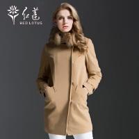 红莲 秋新款女羊绒大衣时尚中长款毛领