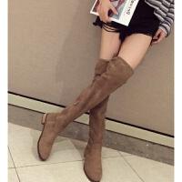 过膝靴女平底长靴2018新品冬季加绒长筒高筒靴卡其色