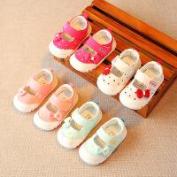 春秋女童鞋宝宝布鞋女孩鞋子软底凉鞋公主学步鞋婴儿单鞋