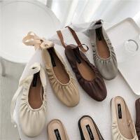 女鞋2019新款韩版系列松紧围设计可替换丝带绑带平底鞋单鞋