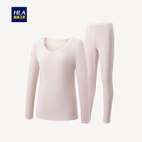 HLA/海澜之家保暖内衣套装秋冬新品女士圆领棉毛衫