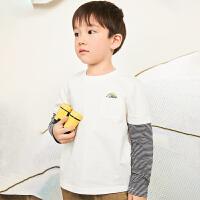 【6折价:129.06元】马拉丁童装男大童t恤春装2020年新款拼接撞色打底衫长袖t恤