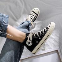 鞋子女2019网红鞋韩版豆沙色帆布鞋学生高帮鞋