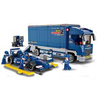 兼容乐高F1方程式赛车系列运输车维修站模型拼装积木组装汽车男孩玩具