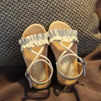 女童公主凉鞋1-3-7岁荷叶边真皮童鞋软底