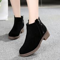 妈妈鞋冬加绒短靴二棉鞋平底短筒中老年棉靴子