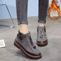 休闲鞋女冬季新品女鞋韩版时尚潮流大码女靴平底短靴秋冬季马丁粗跟裸靴