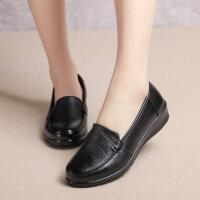 春秋妈妈鞋单鞋真皮软底中老年女鞋舒适平底中年老人奶奶鞋皮鞋女
