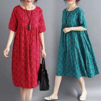 大码女装连衣裙胖妹妹洋气宽松减龄腰粗遮肚子显瘦时髦中长裙新款