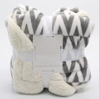 仿羊羔绒毛毯被子盖腿小毯子办公室珊瑚绒空调午睡毯单人女加厚冬季y 灰色菱形 尺码标准 127*178cm 2.6斤