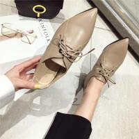 2019春季新款英伦复古小皮鞋系鞋带低跟单鞋尖头休闲平底单鞋女鞋