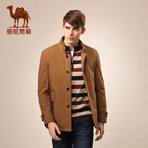 骆驼男装 新款单排扣中长款外套 商务休闲纯色风衣 男