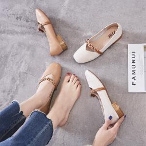 ZHR2019春季新款复古奶奶鞋粗跟玛丽珍鞋女浅口小皮鞋中跟单鞋子