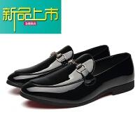 新品上市19春季新款男士尖头小皮鞋英伦韩版豆豆鞋懒人套脚型师皮鞋潮