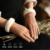 手套女冬天加绒保暖触屏麂皮绒韩版可爱学生骑车加厚防寒