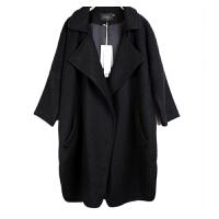 胖mm新款 大码女装外套七分袖宽松翻领毛呢大衣外套