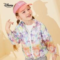 迪士尼童装儿童皮肤衣轻薄透气女童连帽外套宝宝上衣洋气春夏装