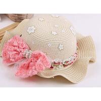 女童新款时尚休闲户外韩版蝴蝶结遮阳帽儿童沙滩帽草帽