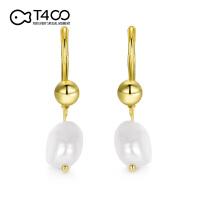 T400淡水珍珠耳环女欧美复古风随性气质不对称异形耳坠