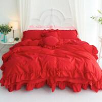 公主风新婚纯棉大红色结婚庆床上用品四件套全棉蕾丝花边被套床单