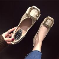 鞋子女新款2019春季时候方头浅口软底蕾丝水钻方扣气质百搭单鞋潮