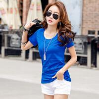夏季新款圆领套头棉短袖女士T恤上衣 韩版休闲女士T恤