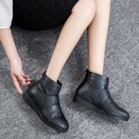 ����鞋女冬加�q短靴女士短筒皮靴棉靴中老年女鞋保暖靴子