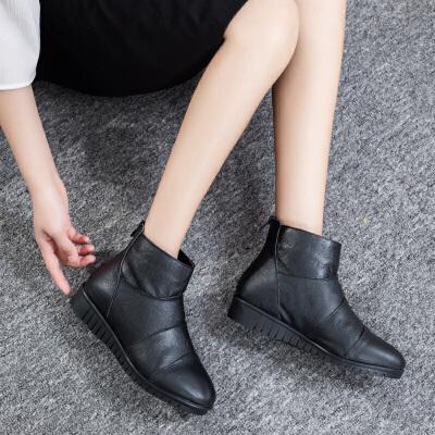 妈妈鞋女冬加绒短靴女士短筒皮靴棉靴中老年女鞋保暖靴子   春节期间放假时间1.31号到2.11,放假期间暂停发货以及售后处理,正月初七恢复
