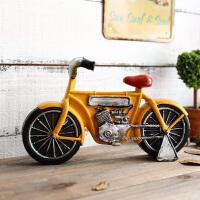 复古摩托车模型儿童房间装饰品摆件创意家居卧室工艺品办公桌摆设