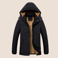 冬季棉衣男士连帽中长款爸爸外套冬装中老年加绒加厚男装