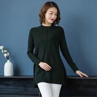 圆领羊毛衫女中长款2018新款宽松毛衣套头中年秋冬装纯羊毛打底衫