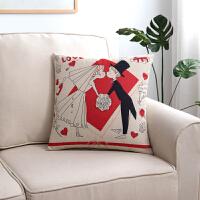 亚麻抱枕外套卡通靠枕套办公室客厅腰枕汽车靠垫不含芯正方形定做