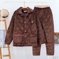 睡衣男士秋冬季青年少年夹棉加厚全棉法兰绒加大码珊瑚绒长袖加绒