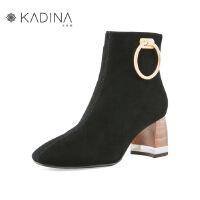 卡迪娜冬季款羊绒皮方头金属扣英伦粗跟加绒女短靴KLA83509