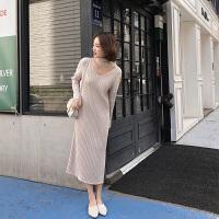 毛衣长裙过膝女秋季2018新款秋装韩版长款长袖直筒打底针织连衣裙 X