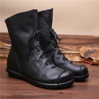 秋冬手工民族风女靴头层牛皮低跟舒适骑士靴短靴