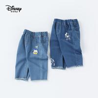 【2件3折价:69.3】快迪士尼宝宝乐星球男童梭织牛仔七分裤夏季新品