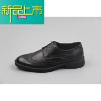 新品上市商务正装雕花男鞋真皮复古低帮皮鞋头层牛皮尖头系带休闲鞋