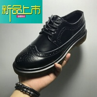 新品上市日系复古朋克短靴真皮英伦雕花男鞋低帮休闲鞋男商务皮鞋潮 黑色