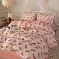 韩式潮风棉网红少女心被罩四件套学生宿舍床单人三件套k