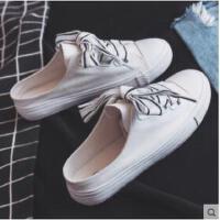 半拖鞋女帆布鞋无后跟平底新款韩版百搭懒人一脚蹬小白鞋