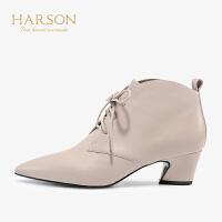【秋冬新款 限时1折起】哈森冬季欧美羊皮短筒尖头高跟踝靴HA96401